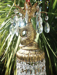 1 Swag Vintage Hanging Dolphin Fish Serpent Lamp Chandelier Gilt Brass Plated
