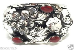 Taxco Mexican 925 Sterling Silver Jasper Floral Flower Cuff Bracelet Mexico