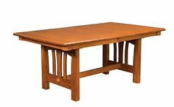 Amish Mission Craftsman Dining Table Rectangle Trestle Solid Wood 42x72
