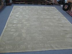 Finely Hand Knotted Wool And Silk Pile Lotus Design Tibetan Nepalese Rug 9' X 12'