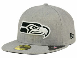 Official Nfl Seattle Seahawks New Era 59fifty Heather Black White Fitted Hat