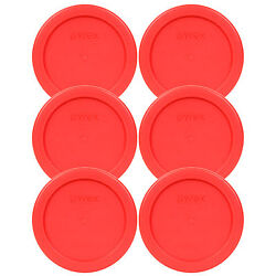 Pyrex 4quot; Storage Plastic Red Lid Storage Cover 6PK For 1 Cup Bowl Dish 7202 PC