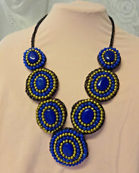Antique Victorian Hand Made Human Hair Lapis Lazuli Mourning Plastron Necklace