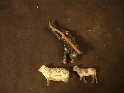 Old Vtg Lead Animal Lot Sheep Cow Monkey Hanging From Branch Train Garden Toy