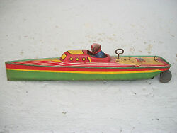 toy lindstrom speedboat wind up tin litho