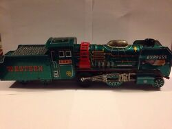 superb tin toy friction western express