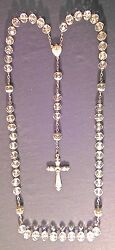 Old Rosary Solid Silver And Rock Crystal Beads Bluish And Facetednanddeg1 Ter