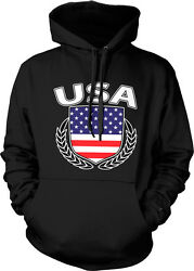 Usa Olive Branch Crest - American Pride America Us Flag Hoodie Pullover