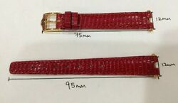 Red Lizard Leather Watch Strap 12mm X10mm Authentic With 2pcs End Piece.