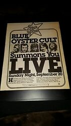 Blue Oyster Cult New Haven Collesium Concert Rare Radio Promo Poster Ad Framed