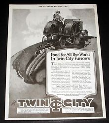 1919 Old Magazine Print Ad, Twin City Tractors, Food For All The World, Furrows