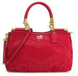 Nwt Coach Madison Gathered Leather Carrie F21281 Punch Red Pink