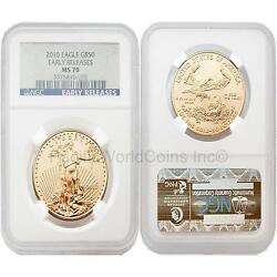 Usa 2010 Eagle Early Releases 50 1 Oz Gold Coin Ngc Ms70
