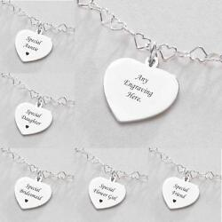 Sterling Silver Heart Chain Necklace With Engraving. Personalised Jewellery