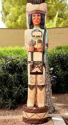 5' Cigar Store Indian The Scout 5 Ft Wooden Sculpture By Native Frank Gallagher