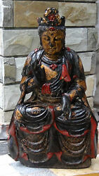 Antique 19c Chinese Large Wood Carved Seated W/hands In Vitarka Quan Yin Statue