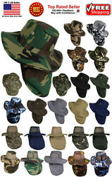Boonie Hat Fishing Army Military Hiking Snap Brim Neck Cover Bucket Sun Flap Cap $11.99
