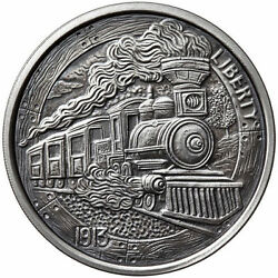 Limited 1 oz Hobo Nickel Antiqued Art Round (The Train) Silver w COA