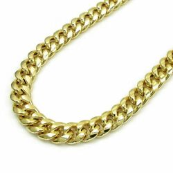 Real 10k Gold Cuban Link Chain 28 Inch 9.5 Mm Mens Necklace Box Lock Rope