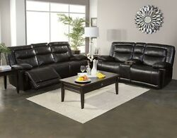 Modern Dual Recliner Sofa And Console Loveseat Living Room 2pc Set Black Furniture