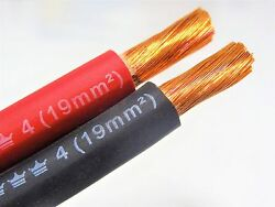 30#x27; EXCELENE 4 AWG GAUGE WELDING CABLE 15#x27; BLACK 15#x27; RED USA MADE BATTERY LEADS