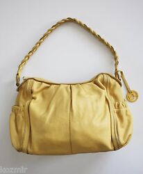 Nordstrom ELLIOTT LUCCA BRAIDED STRAP HOBO BAG Yellow Leather Large Summer Purse