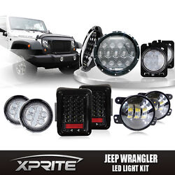 7 75w Cree Led Headlights W/ Turn Signal Fog Side And Taillight Combo For Jeep