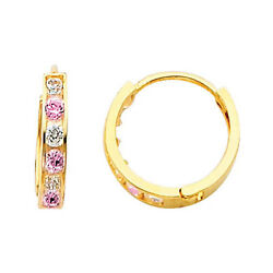 6-stone Channel Set Pink And White Sapphire 14k Yellow Gold Huggies Earrings