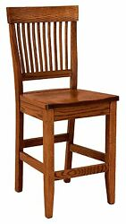 Arts And Crafts Mission 24 Counter Height Bar Stool Stationary Wood Set 3 Amish