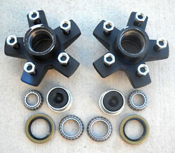 2- Genuine Dexter 5x4.5 Hubs With 3500 Bearing Kits Replace Trailer Idler Axle