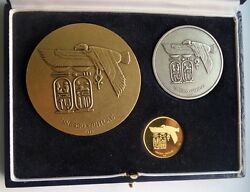 1975 Egypt Unesco Complete Set Medals Gold Silver And Bronze Philae Medal Coin
