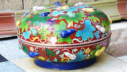 Early 20c Large China Unusual Cloisonne Round Covered Box W/double Relief Gourds