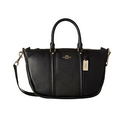 Coach Central Satchel In Pebble Leather 37154M Light Gold And Black Corss Bag