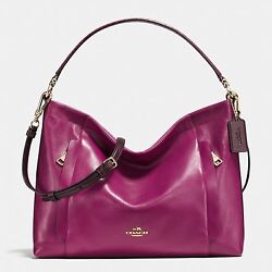 Coach Scout Hobo In ColorBlock Leather 36957 Light Gold And Cyclamen Shoulder