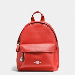 Coach Mini Campus Backpack In Pebble Leather 37590 Silver And Carmine Backpack