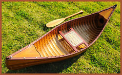 Display Cedar Wood Strip Built Canoe 6and039 Wooden Model Boat With Ribs New