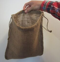 12 New Jute Burlap Bags With Drawstrings Gunny Feed Bag Tow Sack 12 By 14