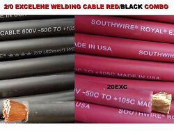 50and039 2/0 Excelene Welding Cable 25 Ft Red And 25 Ft Black Usa Made 105 Epdm Jacket