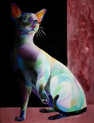 Siamese Shadow 1 Original 14x19 Cat Painting On Canvas By Sherry Shipley