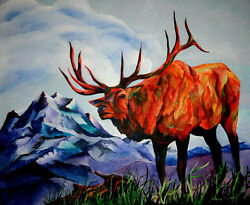 King Of The Hill Original 20x24 Elk Art Painting On Canvas Sherry Shipley