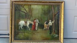 Antique 19c French School Oil On Canvas Original Painting Sword Fight,signed