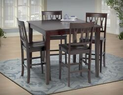 Transitional Counter Height Table And 4x Side Chairs Dining Room 5pc Set Seat Back