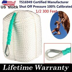 1/2x300and039 Twisted Three Strand Nylon Anchor Rope Boat With Thimble White Line Us