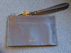 FOSSIL WOMEN'S WRIST WALLET TOP ZIP CLOSE GENUINE 100%LEATHER BLACK NEW WITH TAG