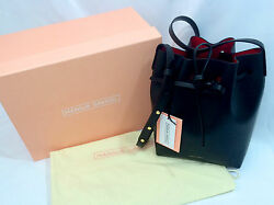 NEW Mansur Gavriel Mini Bucket Bag Black Flamma Red Leather W Box amp; Dust Bag $595.00