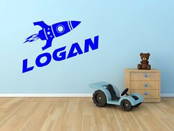 Rocket Ship Name Wall Decal Monogram for Childs Room Vinyl Wall Decal 15quot; Tall $20.99