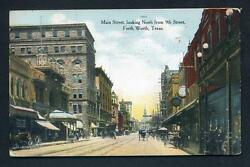Vintage Antique 1908 Fort Worth Texas Postcard Main Street Downtown In Color