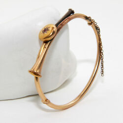 Vintage Hunting Bugle Bangle In 14k Yellow Gold Antique Music Instrument Jewelry