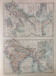 British India Or North America Independence Antique Map 1891 Large 2 Sided Atlas