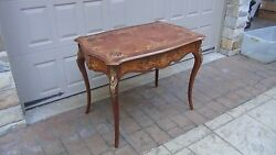 Great Antique 19c French Louis Xv Marquertry Inlaid Parlor Centre Table W/ormolu